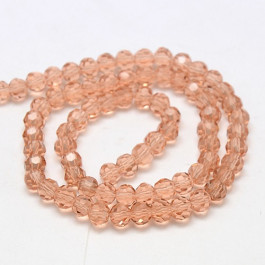 Light Salmon 6mm Faceted Round Glass Beads