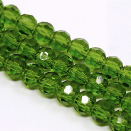 Green 4mm Faceted Round Glass Beads