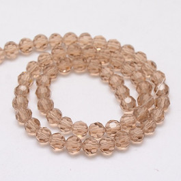 Burly Wood 8mm Faceted Round Glass Beads