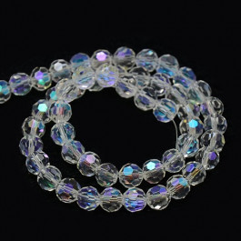 Clear AB Colour Electroplate 8mm Round Glass Beads