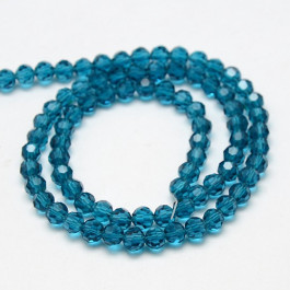 Steel Blue 4mm Faceted Round Glass Beads