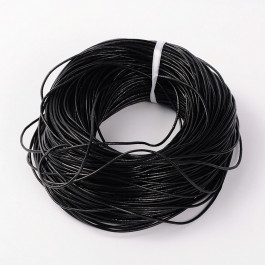 Black Cowhide Leather Cord 2mm Round 10M Roll