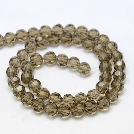 Gray 6mm Faceted Round Glass Beads