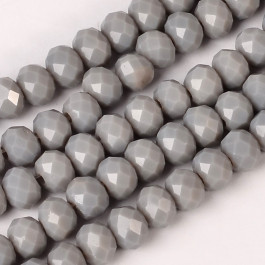 Dark Gray 6x4mm Faceted Abacus Glass Beads