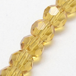 Light Khaki 8mm Faceted Round Glass Beads