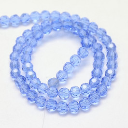 Light Sky Blue 6mm Faceted Round Glass Beads