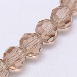 Burly Wood 6mm Faceted Round Glass Beads