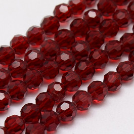 Dark Red 4mm Faceted Round Glass Beads