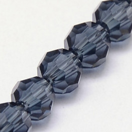 Prussian Blue 8mm Faceted Round Glass Beads