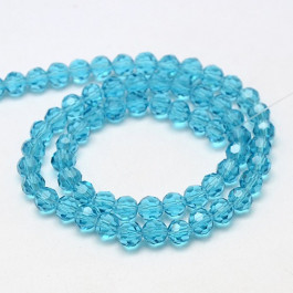 Sky Blue 4mm Faceted Round Glass Beads