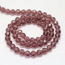 Purple 6mm Faceted Round Glass Beads