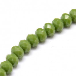 Olive Drab 6x4mm Faceted Abacus Glass Beads