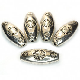 Tibetan Silver Oval 20x9x6mm Beads (Pack 5)
