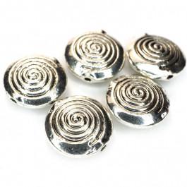 Tibetan Silver 12x4.5mm Disc Beads (Pack 5)