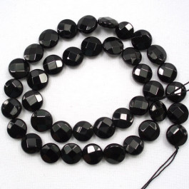 Black Onyx 12mm Faceted Coin Beads.