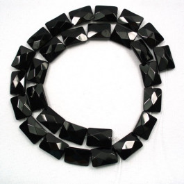 Black Onyx 10x14mm Faceted Rectangles Beads