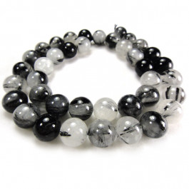 Black Rutilated Quartz 10mm Round Beads