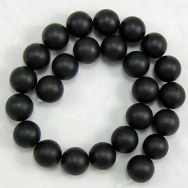 Black Stone (Matte) 16mm Round Beads