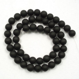 Matte Black stone beads 6mm