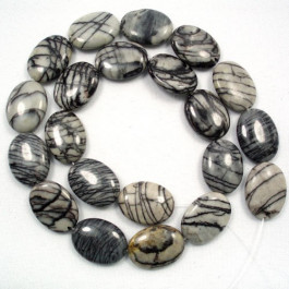 Black Veined Jasper 13x18mm Oval Beads