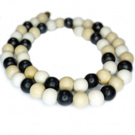Natural White Wood Mixed Colour Beads - Black, White and Natural