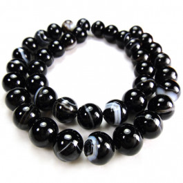 Brazilian Black Sardonyx 10mm Round Beads
