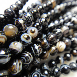 Brazilian Black Sardonyx 4mm Round Beads