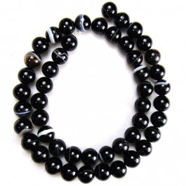 Brazilian Black Sardonyx 8mm Round Beads