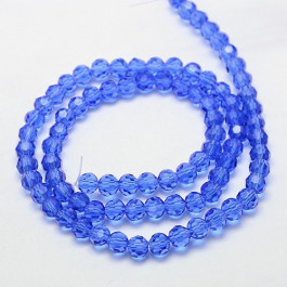 Blue 6mm Faceted Round Glass Beads