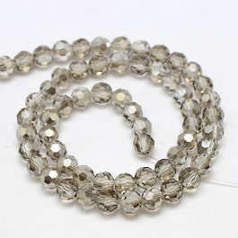 Gainsboro 6mm Faceted Round Glass Beads