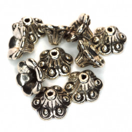 Tibetan Silver 10mm Flower Bead Caps (Pack 10)