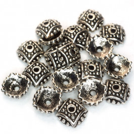 Tibetan Style Studded Bead Caps 7.5mm (Pack 20)