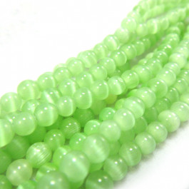 Cats Eye Light Green 4mm Round Beads