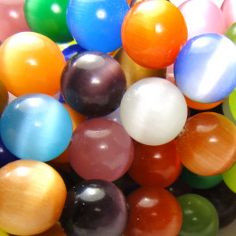 Cats Eye Multicolour 12mm Round Beads