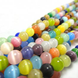 Cats Eye Multicolour 6mm Round Beads