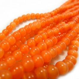 Cats Eye Orange 6mm Round Beads