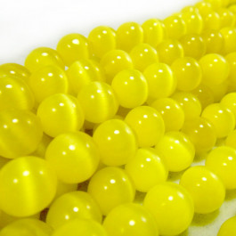 Cats Eye Yellow 8mm Round Beads