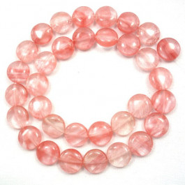 Cherry Quartz 12mm Coin Beads