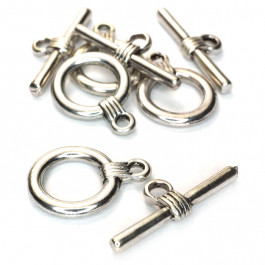 Tibetan Silver Toggle & Bar Clasps (Pack 4)