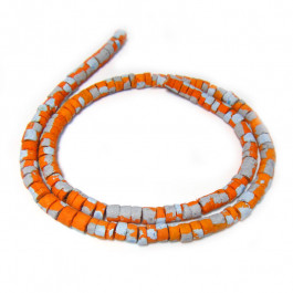 Coco wood beads Blue Painted Orange with Splashing