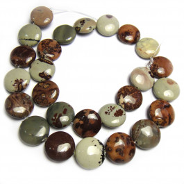 Coffee Bean Jasper 15mm Coin Beads