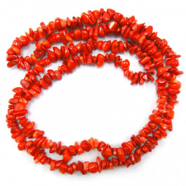 Red Coral Chip Beads