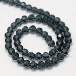Prussian Blue 6mm Faceted Round Glass Beads