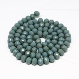 Cadet Blue 6x4mm Faceted Abacus Glass Beads
