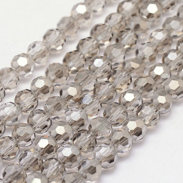 Gainsboro 4mm Faceted Round Glass Beads