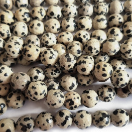 Dalmation Jasper 10mm Faceted Round Beads
