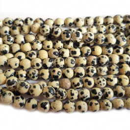 Dalmation Jasper 6mm Faceted Round Beads