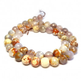 Fire Agate Brown 8mm Faceted Round Beads