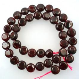 Garnet 10mm Coin Beads