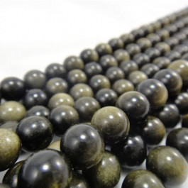 Golden Rainbow Obsidian 8mm Round Beads